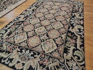 6x9  French Aubusson design Needlepoint oriental area rug beige black pink gray