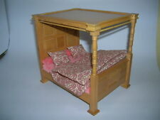 4 Pfosten Bett mit Bettzeug / 4 Poster Bed Puppenstube Dollhouse 1:12 Art DF148