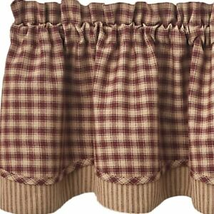Town and Country Black or Wine Lined Layered Valance