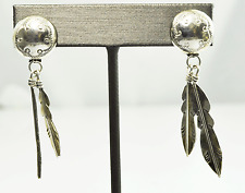 Dine' Begaye Sterling Silver Round Etched Feather Dangle Post Earrings 2""