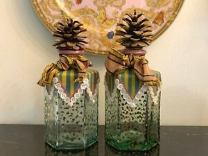 Mackenzie Childs Circus Glass Bottle Applied Buttons Shells & Pine Cone Stopper