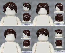 LEGO - 4x Male Hair Lot - Dark Brown Short Tousled Side Part Spiked Boy Wig
