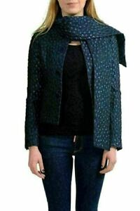 Dsquared Silk Navy Button Down Scarf Decorated Women's Basic Jacket US S IT 40