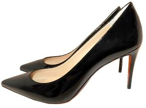 Christian Louboutin Kate Pointed Toe Patent Leather Pumps 85 mm Black Shoes 39.5