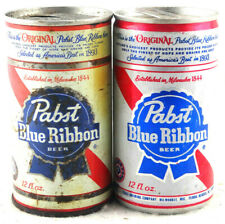 Qty 2 - Pabst Blue Ribbon Beer Can Aluminum Steel Top Opened 12 oz Free Shipping