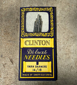 Vintage Sewing Needles Clinton Deluxe Yarn Darners 14/18 Sheffield Steel 6 Pack