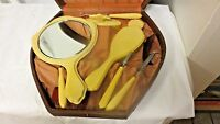 Vintage 10-pc Celluloid Vanity Dresser Groomiing Set in Cloth Lined Case-Shield