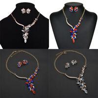 Women Multicolor Gem Crystal Pendant Choker Chain Necklace Earrings Sets Jewelry