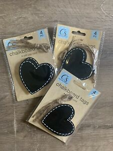 3 Packs Chalkboard Tags Large Heart Shape With Ties