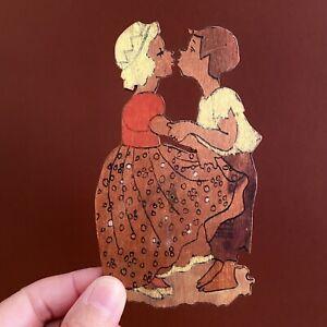 Märchen-Holzbild ALT 1940er 12cm Vobach Prinzessin+Schweinehirt Laubsägearbeit