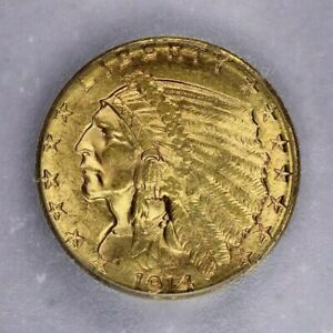 1914-D 1914 Indian Head Quarter Eagle $2.50 ICG MS64 beautiful lustrous coin!