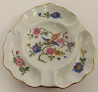 Limoges France Vintage Porcelain Bird / Pheasant Ashtray Triangle Gold Trim