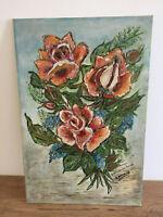 tableau ancien huile sur toile marouflé sur panneau P.BERNARD (XX) nature morte