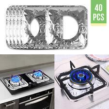 40pcs Aluminum Foil Square Gas Top Burner Disposable Bib Liners Stove Covers