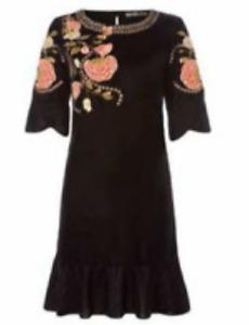 BiBa Bohemian Grande Velvet Black FLoral Dress Ladies Size UK 14 *REF175