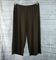 J Jill Wearever Collection Womens Full Leg Cropped Pants Sz Medium Petite Brown