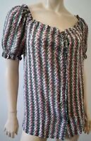 PAUL & JOE Khaki Cream Pink 100% Silk Floral Stripe Short Sleeve Blouse Top Sz:1