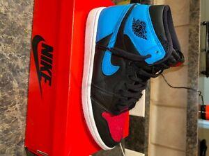 jordan 1 nc to chi , black, blue, red 9.5w