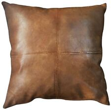 Bangalow Faux Leather Cushion Tan 50cm