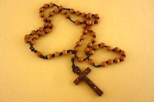alte christliche Halskette Rosenkranz mit Jesus Kreuz Kruzifix Holz Perlen