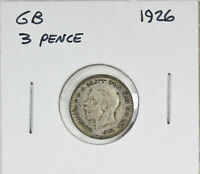1926 Great Britain UK Silver Threepence 3 Pence George V