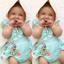 AU Cute Toddler Baby Girl Clothes Lace Floral Jumpsuit Romper Backless Sunsuit