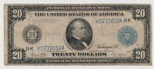 1914 $20 BLUE SEAL Dallas FEDERAL Reserve NOTE Twenty