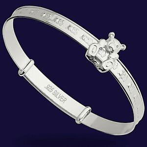 925 Silver Baby Bangle Bracelet Birthday Gift Christening Sliding Teddy Bangle