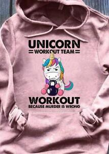 Fitness Unicorn Workout Team Workout Because Murder Is Wrong Hoodie