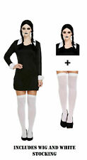Adult Wednesday Addams Costume Creepy School Girl Gothic Halloween Fancy Dress A