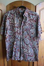 Van Heusen Studio Small Men's Rayon Paisley Hawaiian Button Down Shirt 14-14 1/2