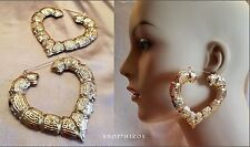 "LARGE 3"" GOLD CHUNKY HEART BAMBOO DOOR KNOCKER 80's HOOP EARRINGS NEW"