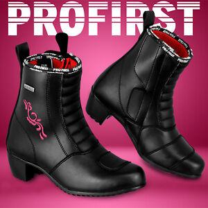 Women's Motorcycle Racing Leather Boots Waterproof Ladies Motorbike Riding Shoes