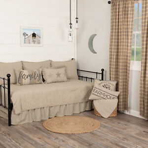 VHC Brands Sawyer Mill Farmhouse Charcoal Ticking Stripe 5pc Daybed Quilt Set