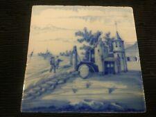 Antique 18th / 19th century Delft Glazed Landscape Tile Blue & White Castle