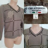 CARLA FERRONI Size L 12/14 Approx. Wool Cashmere Blend Brown Check Floral Jumper