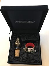 International Silver Grape Design Wine Stopper and Drip Ring set in Velvet Box