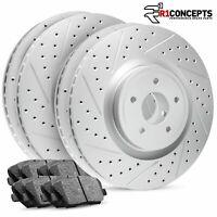 Front+Rear R1 Carbon Geomet Drill/Slot Brake Rotors + Ceramic Brake Pads