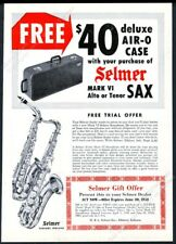1958 Selmer Mark VI saxophone alto tenor Air-O Case photo vintage print ad
