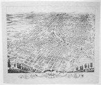 Map of Chicago Historic Ruger/'s 1868 Birdseye view  Illinois Boats waterfront