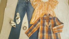 Women's Size 8 (M) Complete Outfit Jeans Top Jacket Sandals Earrings Bracelet
