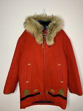 VTG Hudsons Bay Red Pure Virgin Wool Laine Eskimo Parka Coat Womens  sz Xl/2xl