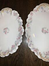 2 Antique Haviland & Co Limoges France Platters Pink Blue Orchids LiliesGold EUC