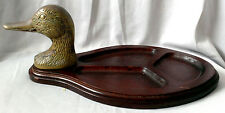 Vintage Men's Valet Wooden Tray Jewelry DESK Organizer Duck Brass Head