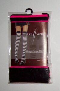 Opaque Stripe Thigh High Stocking Pink Black LEG AVENUE OSFM Costume Halloween