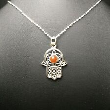 Nazar Evil Eye Pendant Agate Akik 925 Sterling Silver Hamsa Fatima Hand Necklace