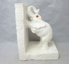 White marble stone elephant bookend made in Italy
