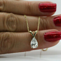 2Ct Pear Cut Diamond Solitaire Pendant Necklace For Womens 10k Solid Yellow Gold