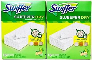 2 Boxes Swiffer Sweeper Dry Trap & Lock Multi Surface Gain Scent 16 Dry Clothes