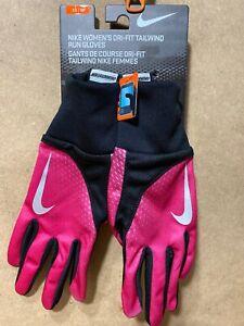 Nike Womens Dri Fit Tailwind Run Gloves Black Pink XS 82744 New B75